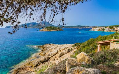 Beautiful view of Majorca Sant Elm with the islands Sa Dragonera and Pantaleu